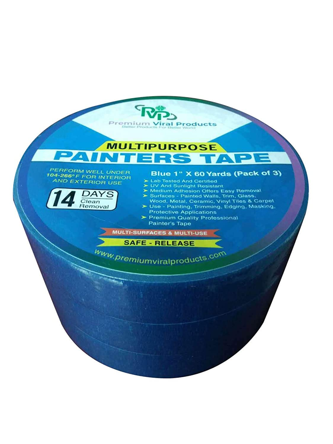 """PVP Professional Grade 1""""x60 Yard Pack of 3 Multi USE Blue Painters Tape/Masking Tape-Premium Quality Tape Total 180 Yard 14 Day Clean & Easy Release UV Resistance Environmentally Friendly Multi USE"""