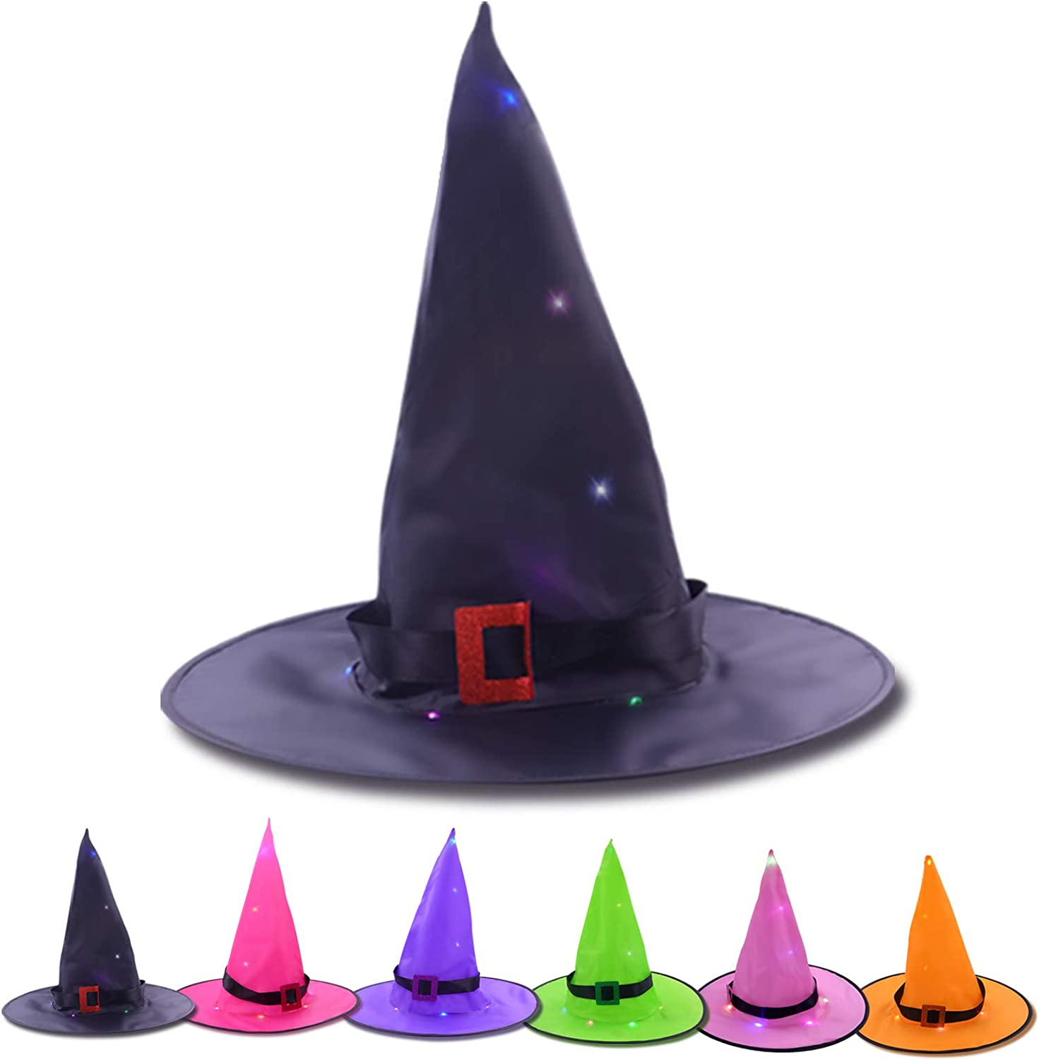 Max 46% OFF Ranking TOP10 Halloween Decorations Lighted Witch Hanging Glowing 6Pcs Hats