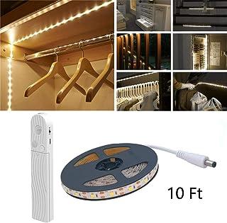 Luz de sensor de movimiento LED, 10FT 180 LED 4000K Tira de LED blanco cálido, USB o con pilas, Interruptor de sensor de día/noche para armario, debajo del gabinete, escaleras, iluminación de armario