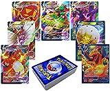 RULY Cartas de Pokemon (18VMAX+42V), 60 Tarjetas de Intercambio de Pokemon, Cartas Pokemon GX Mega, Regalos para niños, Juego de Cartas Divertido de Rompecabezas