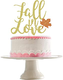 Gold Glittery Fall In Love Cake Topper for Thanksgiving Holiday Party Decorations,Fall Wedding Party Decorations