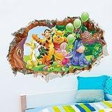 Sticker Mural Papier De Fond De Chambre D'Enfant 3D Mur Cassé Winnie L'Ourson Papier...