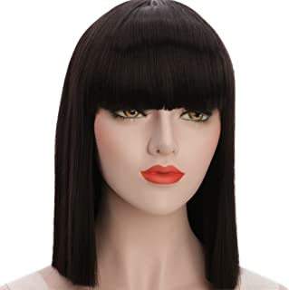 karlery Straight Short Hair Bob Wigs with Flat Bangs Synthetic Wigs for Women Natural As Real Hair (Black)