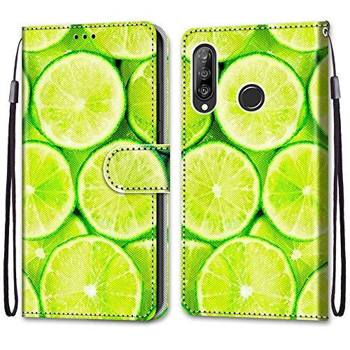 Nadoli Handyhülle Leder für Huawei P30 Lite,Bunt Bemalt Erfrischend Limette Trageschlaufe Kartenfach Magnet Ständer Schutzhülle Brieftasche Ledertasche Tasche Etui