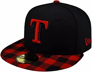 the latest 463a5 bb895 New Era 59fifty MLB Texas Rangers Hat Premium Fitted Black with Red Cap