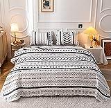 Janzaa Boho Quilt Bedding Bedspread Queen 3 PCS, Microfiber Geometric Quilt Set with Pillow Cases Reversible Coverlet Bedding Set for All Season