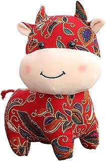 FFXZL Chinese New Year Zodiac Animal Mascot Plush Cattle Ox Stuffed Handmade Soft Toys Animal Cow Mascot for Spring Festiv...