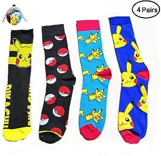 a23e29a42d0 Bo Feng 4Pack Pokemon Socks for Men Women Funny Cute Compression Art  Football Socks Boy Girls