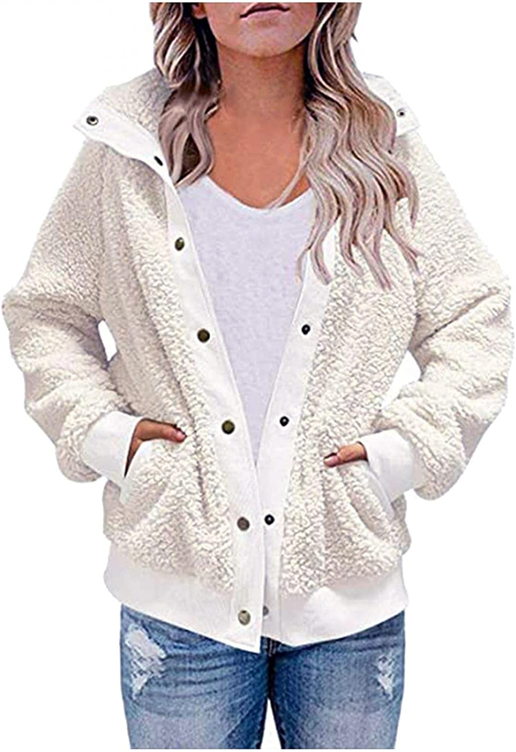 FGDJEE Cardigan Sweaters for Women Winter Warm Plush Thick Button Long-Sleeved Cardigan Coat Outwear with Pockets