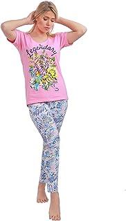 Habiba Cotton Printed T-Shirt with Tropical-Pattern Pants Pajama Set for Women