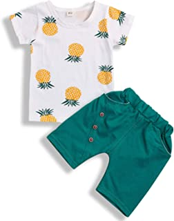 GRNSHTS Baby Girl Boy Summer Outfits Toddler Short Sleeve Pineapple Printed Casual T-Shirt + Shorts Set