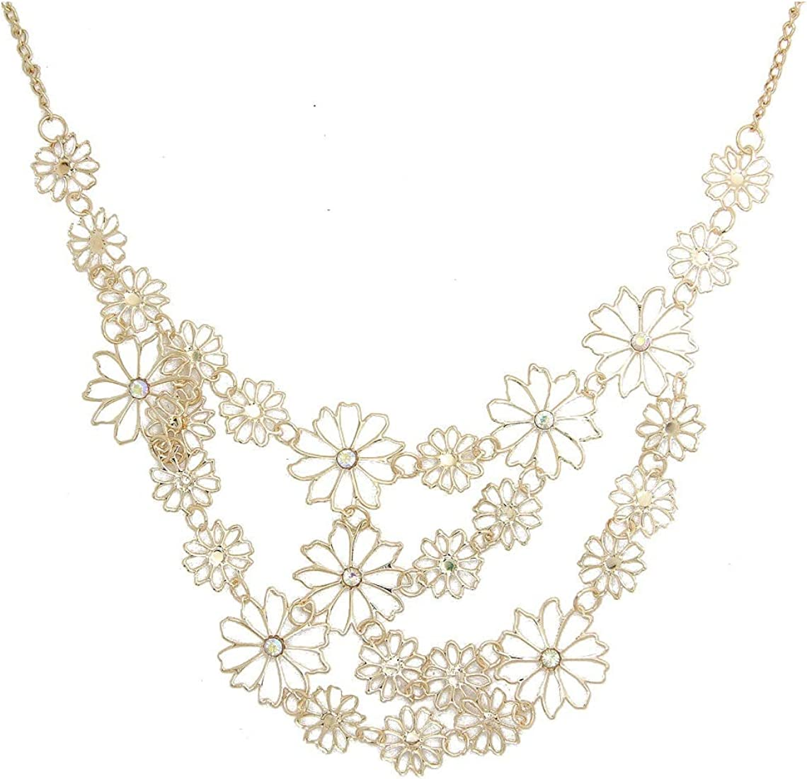 KOEDLN Hollow Camellia Daisy Flower Layers Collar Necklace Wedding Bride Jewelry