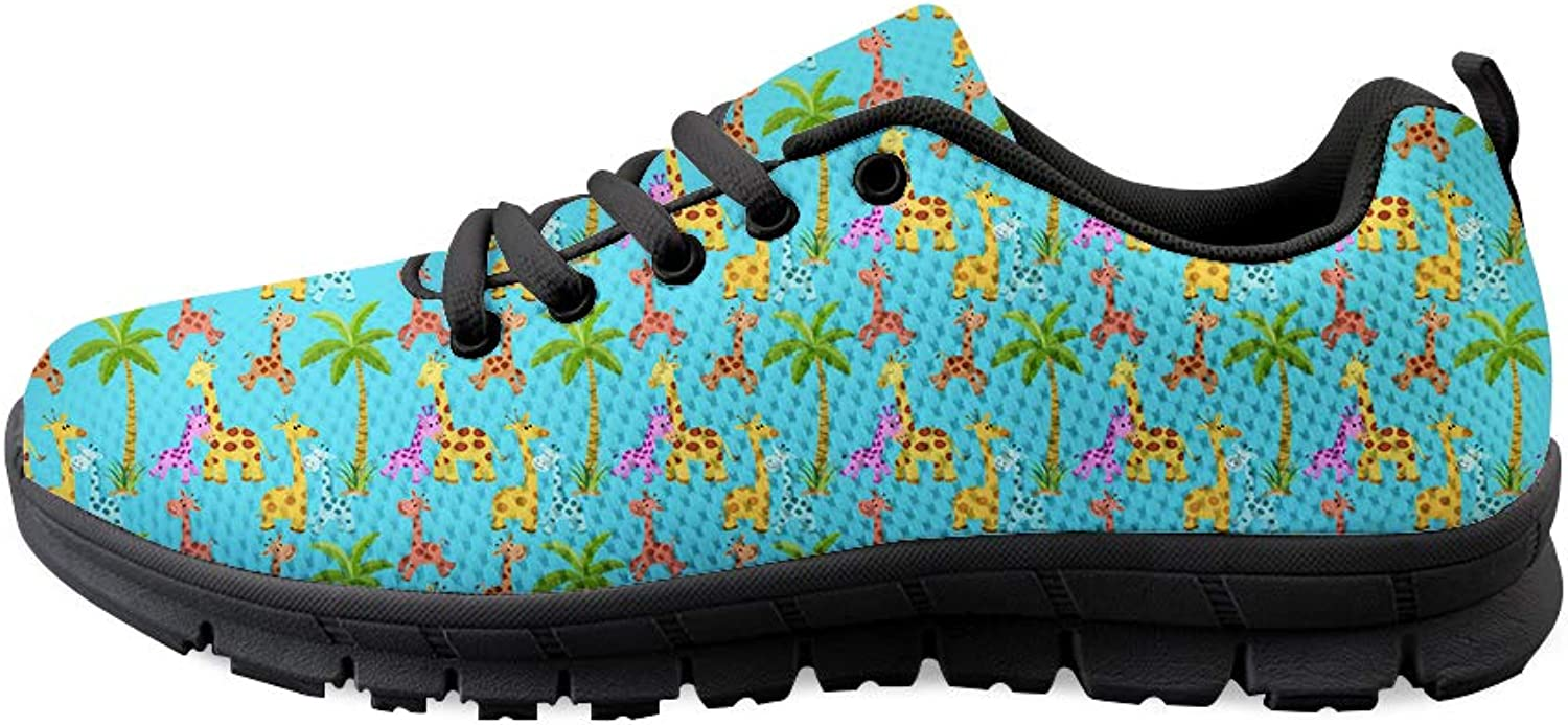 Owaheson Lace-up Sneaker Training shoes Mens Womens Palm Tree colorful Happy Giraffe