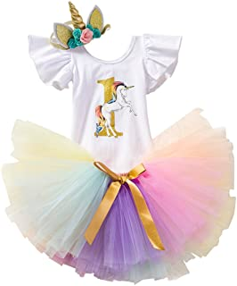 FYMNSI Baby Girl First Birthday Outfit Newborn Infant 1st One Year Cake Smash Unicorn Party Dress Cotton Short Sleeve Romper  Princess Tutu Skirt  Bowknot Headband 3pcs Set Photo Props