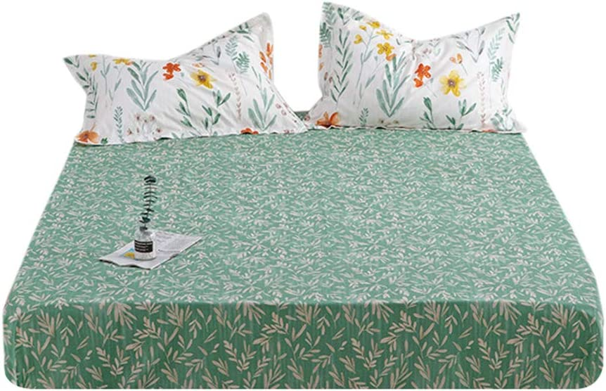 Twin, Style-A HIGHBUY 100 /% Soft Cotton Floral Pattern Fitted Sheet Twin Size Green Flower Printed Twin Kids Bedding Deep Pocket 1 Piece KDS Bed Sheet Comfortable