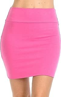 Fashion Aktiv Basic Double-Layer Cotton Simple Stretchy Tube Pencil Mini Skirt - Pink - X-Large