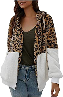 Macondoo Women's Loose Fuzzy Stitching Coat Hoodie Fluffy Leopard Jacket
