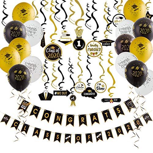 SUNBEAUTY Abschluss Deko Set 2020 Graduation Banners 30er Graduierung Spiralen Schwarz Gold 15 Luftballons