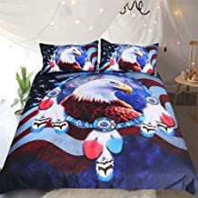 King's Love 3D Bed Sheet Set -3 Piece 3D American Eagle Printed Sheet Set with Edge Cover Queen Size - Soft, Breathable, Hypoallergenic, Fade Resistant -Includes 1 Duvet Cover, 2 Pillow Shams