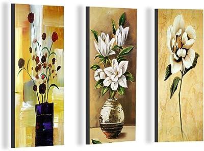 SAF Floral 6MM MDF Framed Set of 3 Digital Reprint 15 inch x 18 inch Painting () SAFJ03 SAFJ03