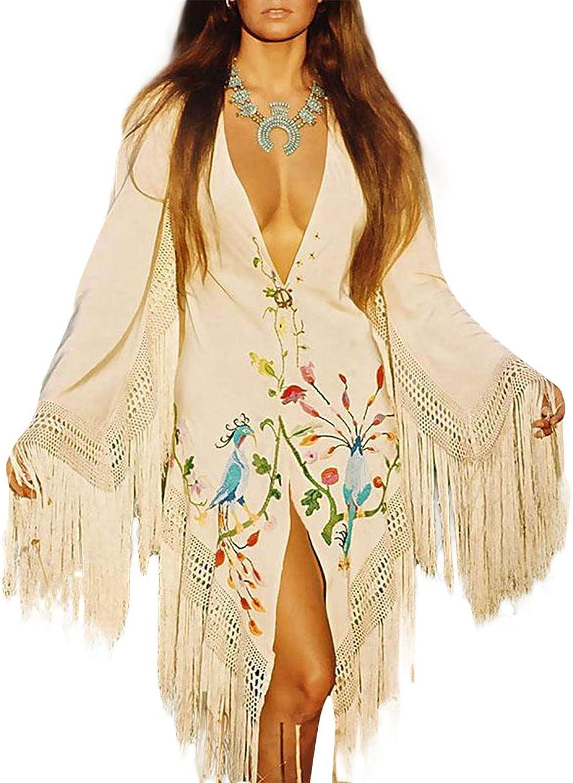 Women Deep V Neck Tassel Flower Embroidery Long Sleeves High Split Loose Dress