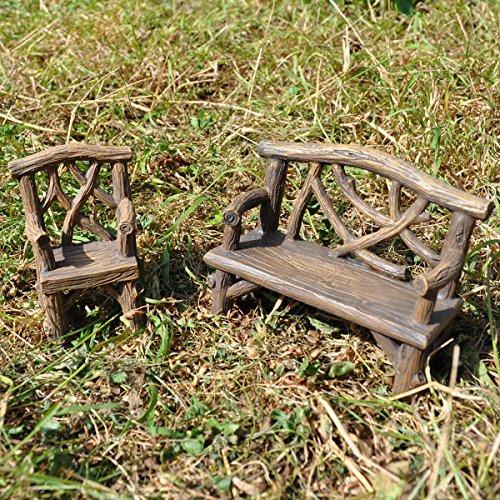 Fairy Garden UK Banc et chaise en bois miniature Décoration d'intérieur – Fée elfe Pixie Hobbit Idée cadeau magique – Hauteur : 8 cm