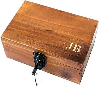 Awerise Personalized Wooden Keepsake Box w/Lock Key, Custom Jewelry Box, Bridesmaid Box, Mother Girlfriend Gift