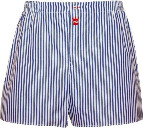 Boxershorts heren van katoen: Premium heren ondergoed Gentleman, balken strepen in marineblauw - designer broek, lange been boxershorts