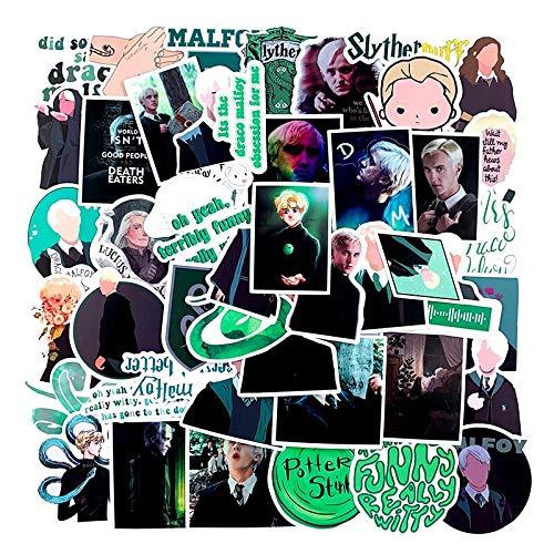 Pack Draco Malfoy dibujos animados impermeable pegatinas para el ordenador portátil refrigerador equipaje teléfono monopatín niños juguete motocicleta 50 unids/