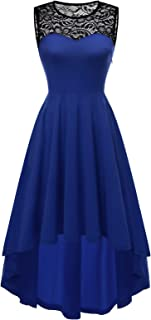 Yoyaker Women's Vintage Lace Sleeveless Hi-Lo Cocktail Party Pleated Swing Dress Bridesmaid Prom Dress