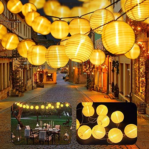 LED Lampion Lichterkette, Lampion Lichterkette 8 Meter 30 LED,8 Modi Lampion LED Laternen Batteriebetriebe und IP65 Wasserdicht für Weihnachten Garten, Hof, Hochzeit, Hartdeko (Y)