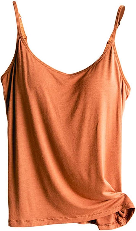 Women's Relaxed Sleeveless Tank Top Tops w/Built in Cup Shelf Bra