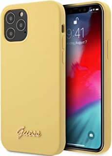 CG Mobile Guess Phone Case Liquid Silicone Script Logo with Soft Microfiber Interior - iPhone 12 Pro Max Yellow