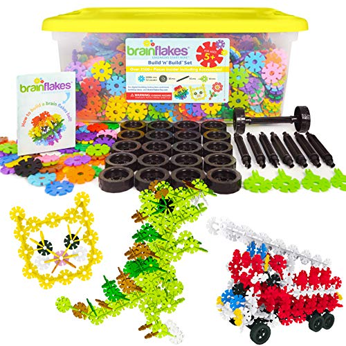 VIAHART Brain Flakes 2500+ Piece Build 'n' Build Kit | A Creative and Educational Alternative to Building Blocks| Wheel Pieces & Special Parts Included! | A Great STEM Toy for Both Boys and Girls!