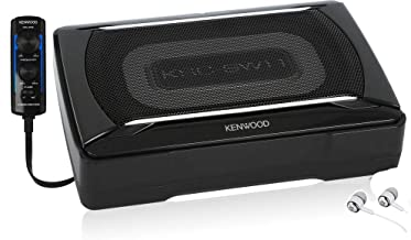 Kenwood KSC-SW11 150W Peak Compact Under the Seat Powered Subwoofer Enclosure with Bass Remote and Loaded with 8-1/4