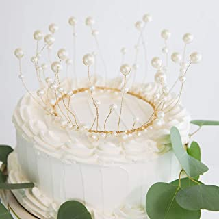 AVAFORT Pearl Crown Cake Topper Handmade White Pearl Crown Cake Decoration Topper for Wedding, Bride Princess Girl Queen Birthday, Party, Bridal Shower, Prom, Babies, Kids (Champagne Gold)