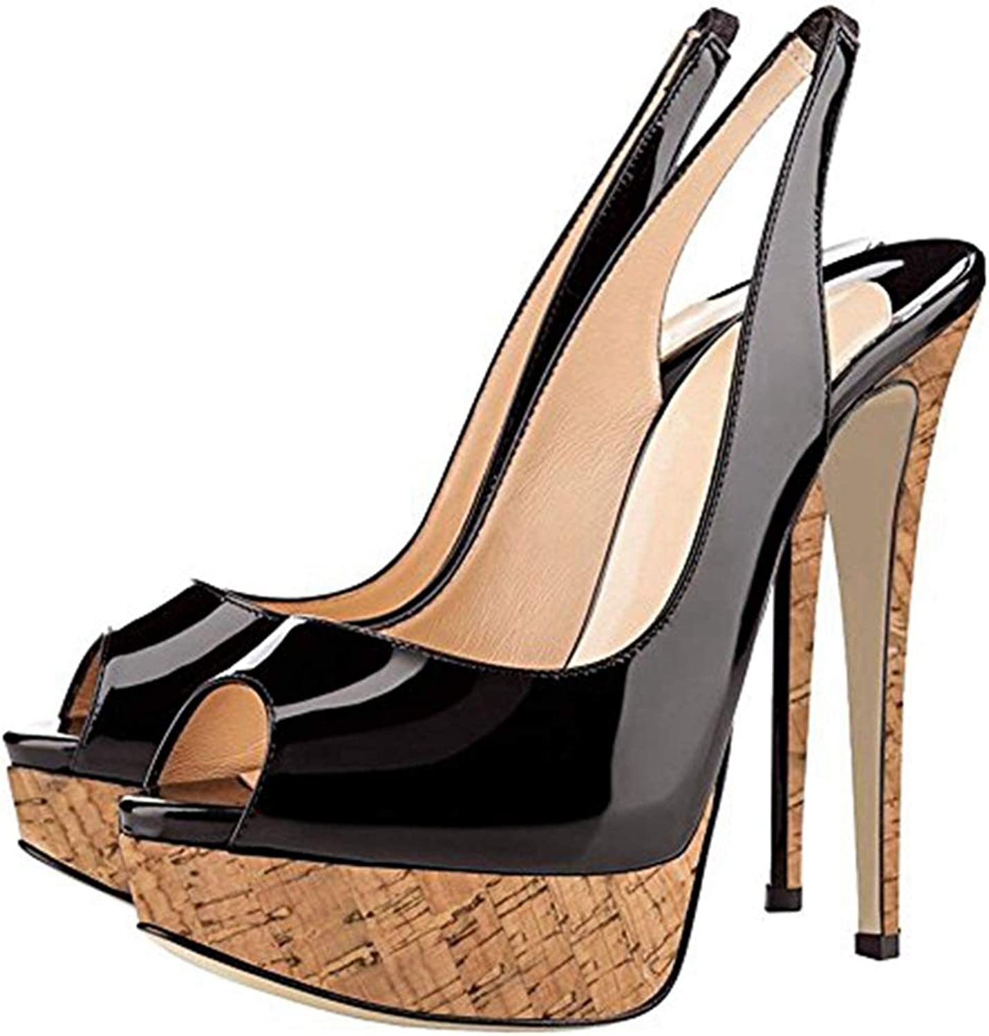 Women Brown Heeled shoes Black Super High Heel Sandal Platform Comfortable Summer Sandals