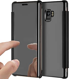 Galaxy S9 Plus Case,Galaxy S9 Plus Cover,ikasus Ultra-Slim Luxury Hybrid Shock-Absorption Clear View Flip Electroplate Plating Mirror Cover Flip Protective Case Cover for Galaxy S9 Plus,Black