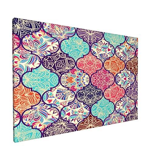 Impresiones del arte de la pared de la lona,Colorido mosaico de azulejos marroquíe,Obra de arte de pintura enmarcada moderna lista para colgar para decoración del hogar,oficina,decoración de sala