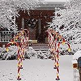 Lot de 10 lumières solaires de Noël en sucre d'orge, lumières LED pour décoration intérieure et extérieure