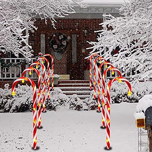 Lot de 10 lumières solaires de Noël en forme de sucre d'orge, lumières LED pour décoration intérieure et extérieure