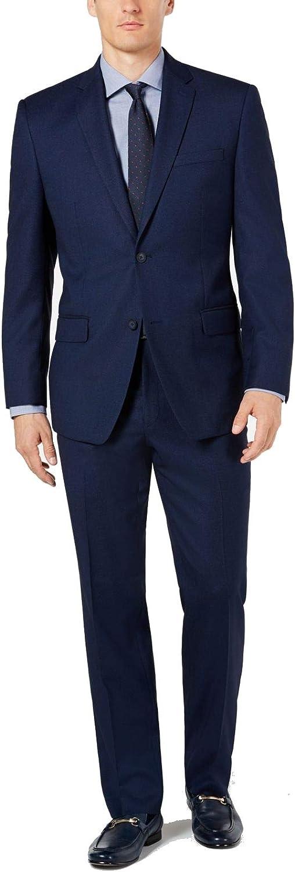 Marc York Mens Suit Set Navy Short Modern Fit 2 Piece Blue 42