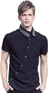 Fashion Shirt Mens Short Sleeve Black Slim Fit Shirt Style Button Down