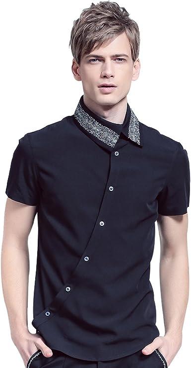 FANZHUAN Camisa Manga Corta Hombre Cuadros Negra Camisa De Vestir Hombre Slim Fit