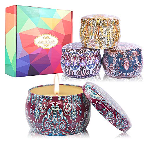 duoledaeu Velas Perfumadas Natural Velas Aromaticas, Cera de Soja Natural, Velas de Aromaterapia para Yoga, baño, día de San Valentín,4 Piezas