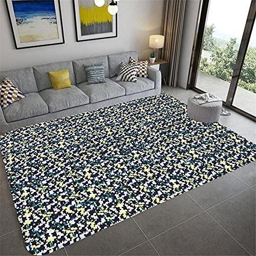 IOWLDMW Alfombra Salón Pelo Corto Efecto 3D Patrón de Camuflaje Azul Amarillo Blanco Súper Suave Alfombra Salon Grande Lavable Antideslizante Alfombras Interior 120 x 170 cm