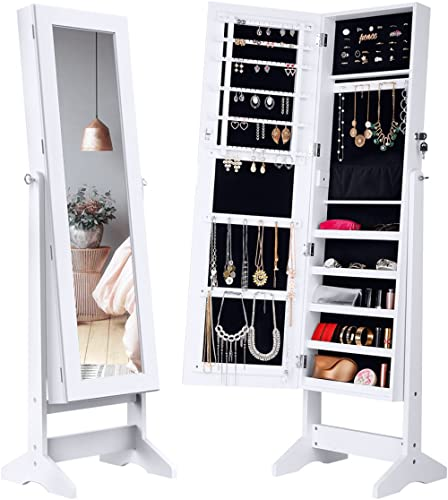 LANGRIA Lockable Jewelry Cabinet Standing Jewelry Armoire Organizer with Mirror, Full Length Standing Jewelry Storage...