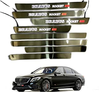 Mercedes-Benz Brabus Rocket 900 W222 S222 S63 S500 S550 S65 S Class entrance mouldings LED illuminated door sills interior trim set 8 pcs stainless steel polished chrome white with red sign
