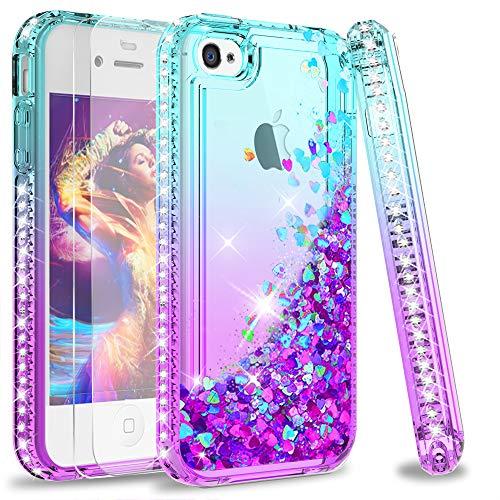 LeYi Hülle iPhone 4 / iPhone 4S Glitzer Handyhülle mit Panzerglas Schutzfolie(2 Stück), Diamond Cover Bumper Schutzhülle für Hülle iPhone 4 / iPhone 4S Handy Hüllen ZX Gradient Turquoise Purple