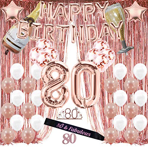 Rose Gold 80th Birthday Supplies